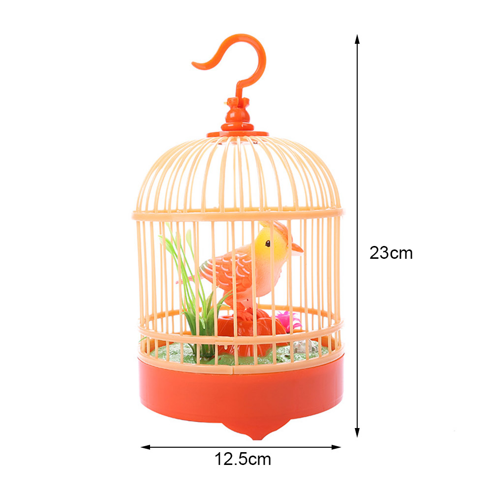 New Electronic Bird Singing Chirping Bird Toy In Cage Kids Voice Control Electronic Pet Toy