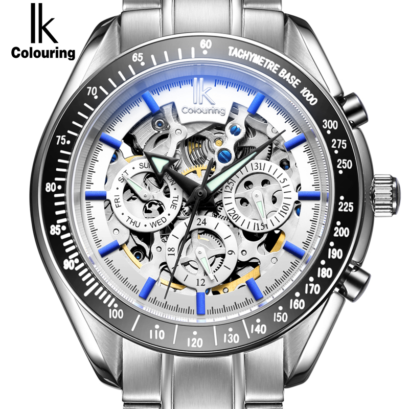 IK Brand Luxury Automatic Mechanical Men s font b watch b font 24 hours Display Skeleton