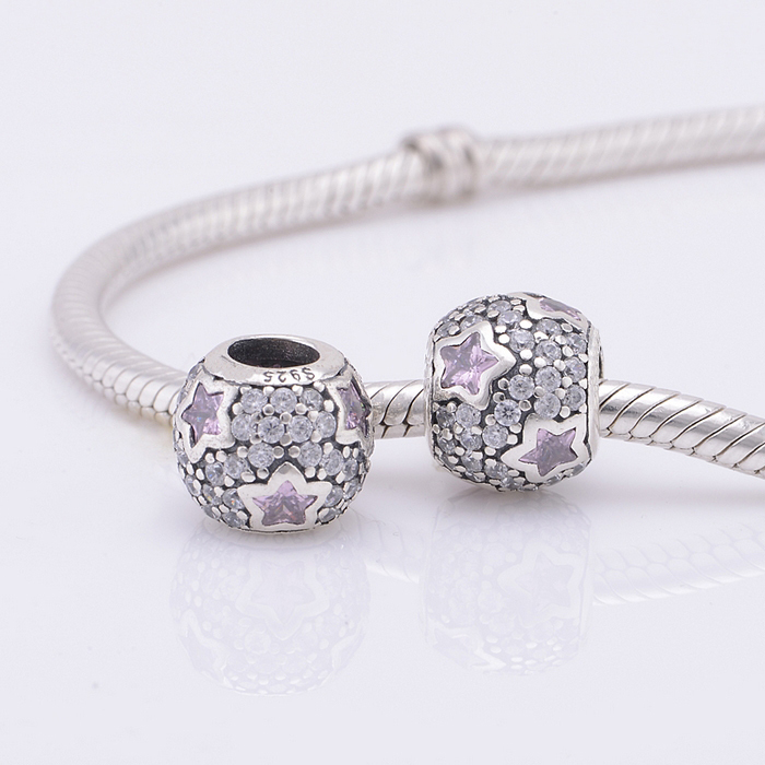 3ef3abbdf Fits Pandora Charm Bracelet Authentic 925 Silver Beads Pave Ball Pink  Crystal Star Charms Beads Women DIY Jewelry Drop Shipping-in Beads from  Jewelry ...