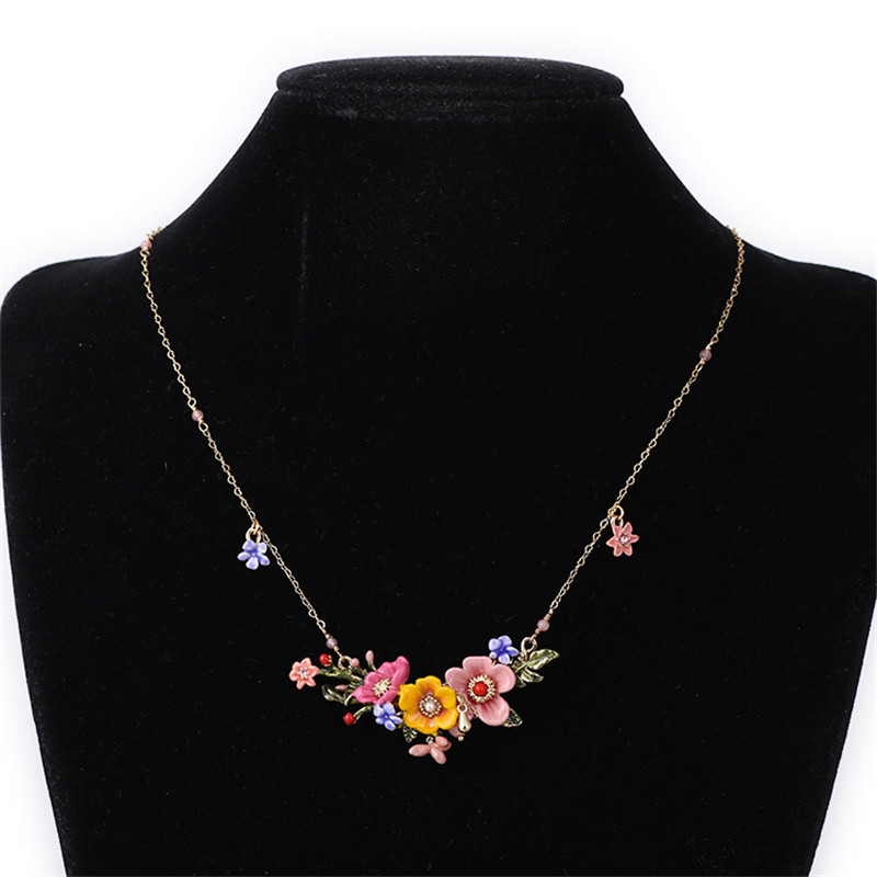 Fashion Jewelry Enamel Glaze Trendy Pink Red Various Violet Flowers Tassel Women Necklace For Party unique mermaid with shell pendant necklace for women enamel glaze fashion choker necklaces lady party jewelry