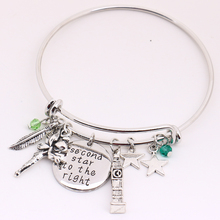 Peter Pan Bangle Second Star To The Right Pendant Tinkerbell Neverland Tower Leaf Stars Charms Bracelet Christmas Gift For Kids