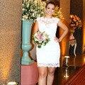 Diseñadores de Dos Piezas Vestido de Novia robe de mariage Estilo Joya Corto de Encaje vestidos de Novia Vestidos de Novia Brasileña
