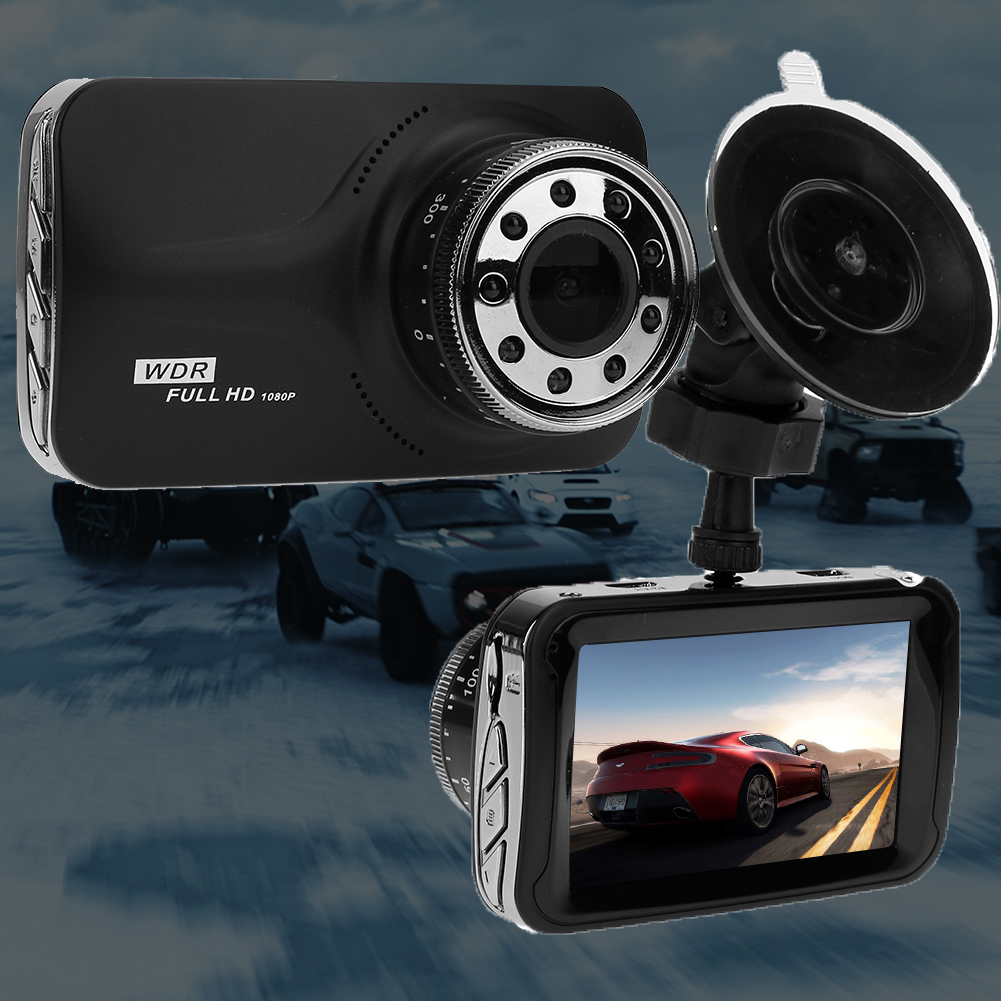 3 Inch 1080P LCD Dual Lens Night Vision Car DVR IR night vision Dash Camera with WDR and Park Monitor