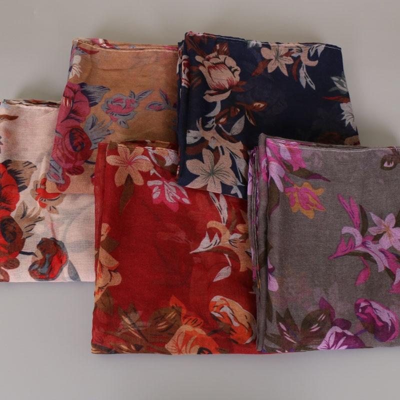 2019 Women Antumn Winter Brand   Scarf   Print Floral Viscose   Scarf     Wrap   Soft Pashmina Shawl Hijab Muslim Headband Foulard 180*85Cm
