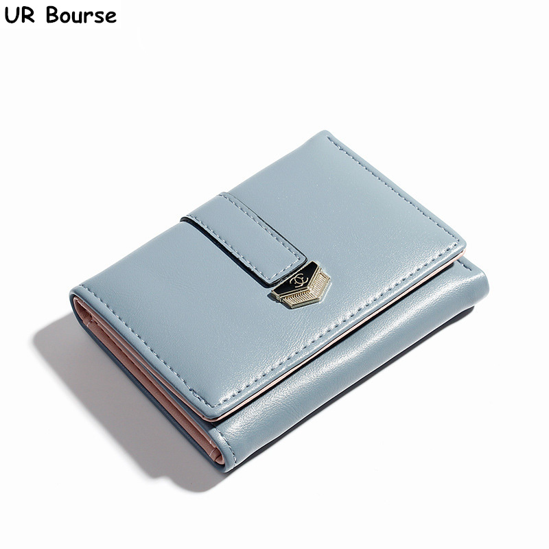 UR BOURSE Female PU Leather Card Holder Womens Multi-card Coin Purse Girls Large Capacity Wallet Buckle Ladies Tri-fold