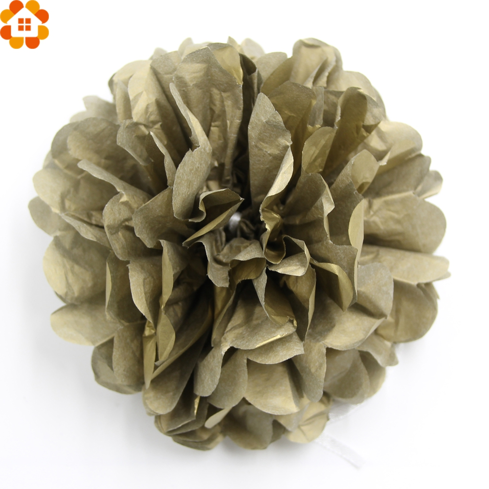 5PCS DIY Gold&Sliver Paper Pompoms Tissue Paper Pompom Paper Flowers Ball Home Garden/Kids Birthday Decoration Wedding Favors