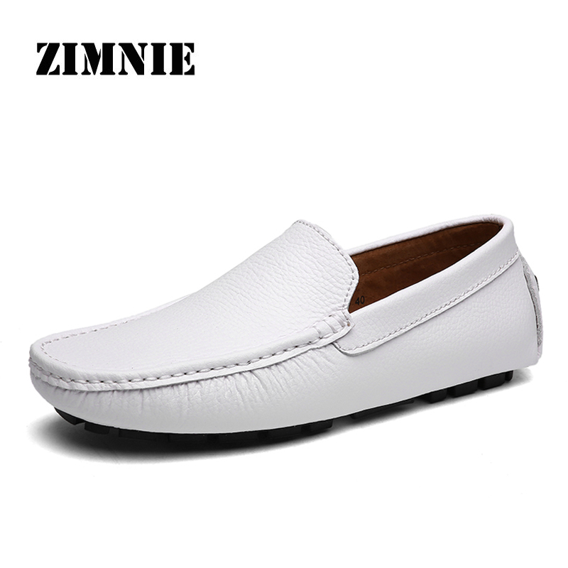 ZIMNIE Brand Men Casual Flat Shoes Men Leather Loafers Leisure Soft Moccasins Slip On Fashion Men Driving Shoes Large Size 38~47