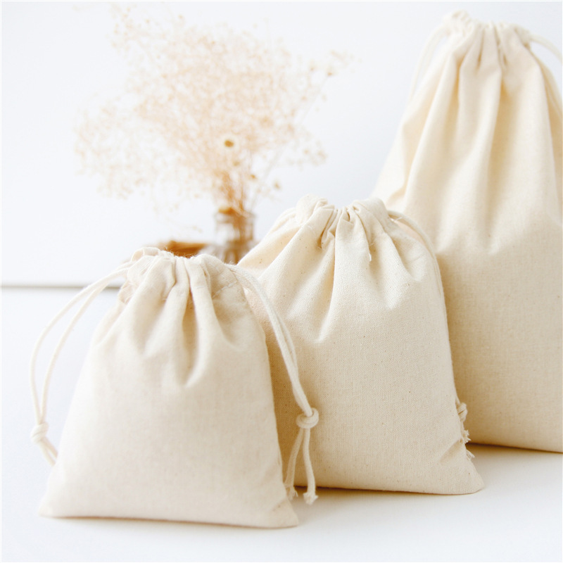 White Cotton Drawstring Bag Solid Color Home Storage Coffee Bean Gift Packing Bag Shoes Bag  Women Travel Pouch Coin Purse