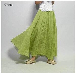 Image 4 - Womens Elegant High Waist Linen Maxi Skirt 2020 Summer Ladies Casual Elastic Waist 2 Layers Skirts saia feminina 20 Colors SK53