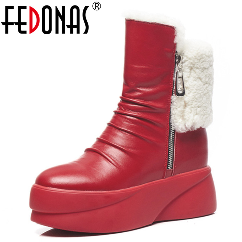FEDONAS New Arrival Ankle Boots For Women Wedges Heels Warm Winter Shoes Woman Round Toe Short Ladies Boots Sexy Female ShoesFEDONAS New Arrival Ankle Boots For Women Wedges Heels Warm Winter Shoes Woman Round Toe Short Ladies Boots Sexy Female Shoes