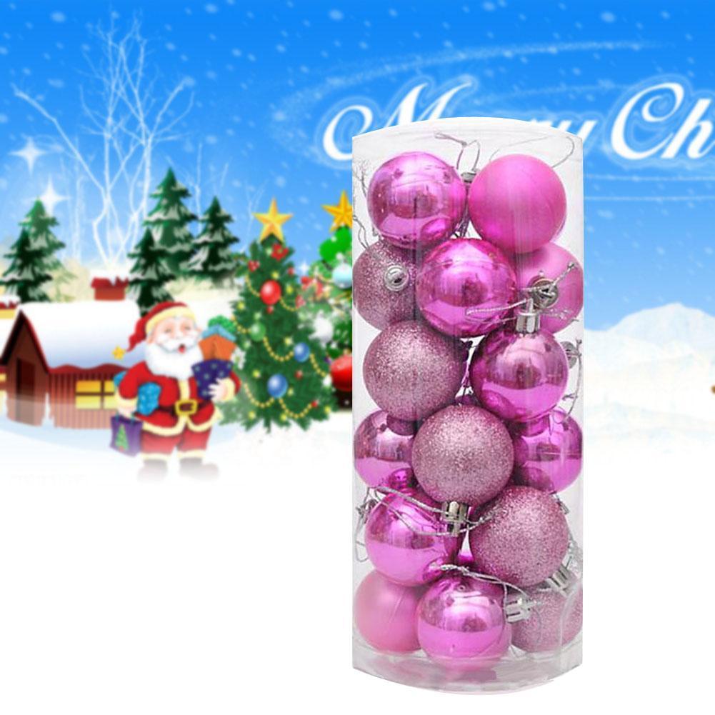 24 Stks 4 Cm Plastic Heldere Ballen Nieuwe Roze Kerstboom Kleurrijke