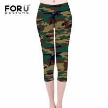 FORUDESIGNS 2017 Spring Summer Comfort Women Leggings Military Army Green Female Workout Leggings Fitness High-waist Punk Panty