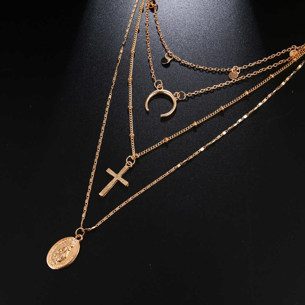 Ailend Necklace Bohemian Cross Virgin Mary Pendant Alloy Necklace Girl Fashion Long Multilayer Necklace New 2019