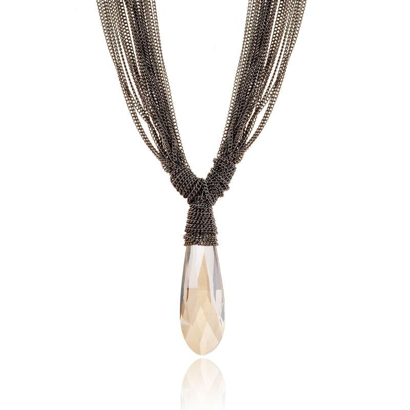 754d3f95e2dd Moda largo Collier Femme collar gota de agua cristalina Collares y colgantes  joyería de las mujeres multi layer cadena COLLAR COLGANTE