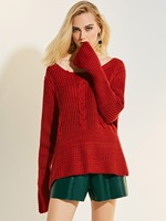 8 2018 Autumn Winter Solid Knitted Sweaters And Pullovers Women Jumper Long Sleeve Pullover Female Red
