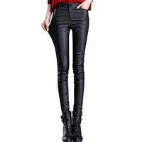 MOBTRS Fashion Leggings Women Autumn Warm Leggings Fake Leather Ladies Velvet Pants Stretch Casual Sexy Black Leggings Pants