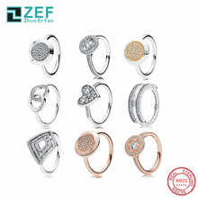 ZEF pan 925 sterling silver rings for women,Heart Fashion ladies 2019 round classic style,elegant luxury,original jewelry