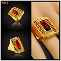 High-end Luxury Brand Sumptuous 18k Real Gold Plated Austrian Crystal Stylish Big Ring Unisex,Exquisite Vintage Men Class Rings