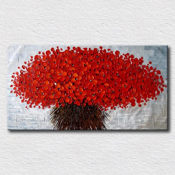 Rouge Foncé Fleur Peinture À L'Huile Épaisse Peinture À L'Huile Sur