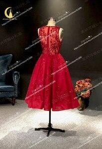 Image 5 - JIALINZEYI Immagine Reale Più Nuovo Vino Rosso Perline di Cristallo di Lunghezza Della Caviglia Una Linea di Abiti da ballo Vestiti Da Partito 2019