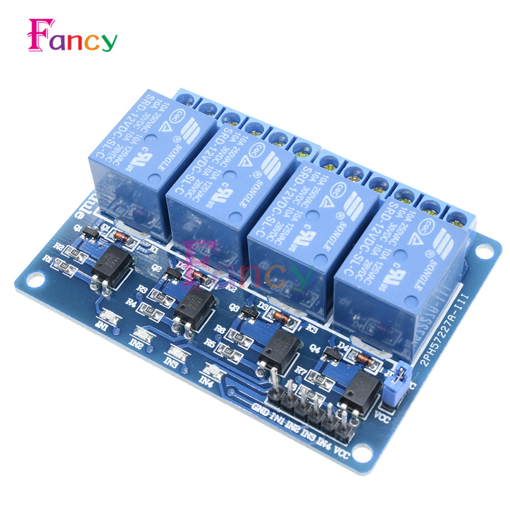 DC 12V 4 Channel Relay Module Optocoupler For Arduino ARM AVR DSP PIC MSP AC 250V 10A DC 30V Low Level Signal MCU PLC Control
