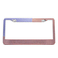 США флаг Bling чистый ручной Водонепроницаемый держатель рамки номерного знака Rustproof блестки Стразы авто лицензия на заказ крепеж