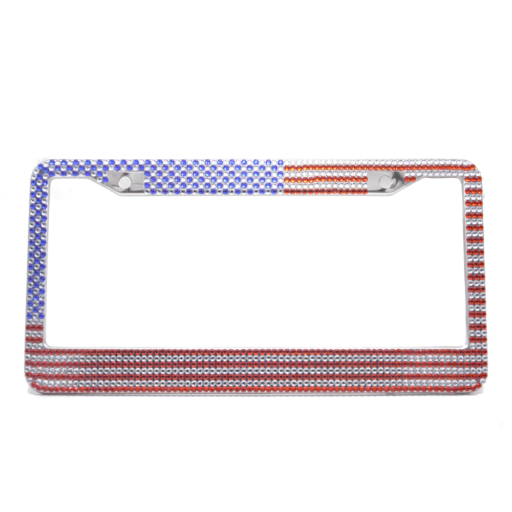 USA Flag Bling Pure Handmade Waterproof License Plate Frame Holder ...