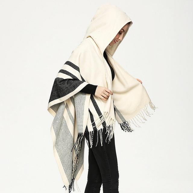 Women's Wool Hooded Poncho with Hat Winter Scarves Black Beige Colors PJ020