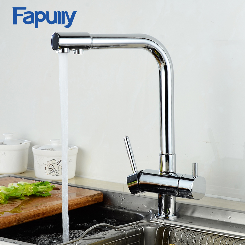 Fapully Kitchen Filter Faucet Chrome Finish 360 Degree Rotating Drinking Water Tap 3 Way Kitchen Sink