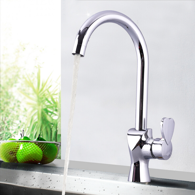 L16152 Luxury Deck Mounted Chrome Finish Brass Material Kitchen Faucet