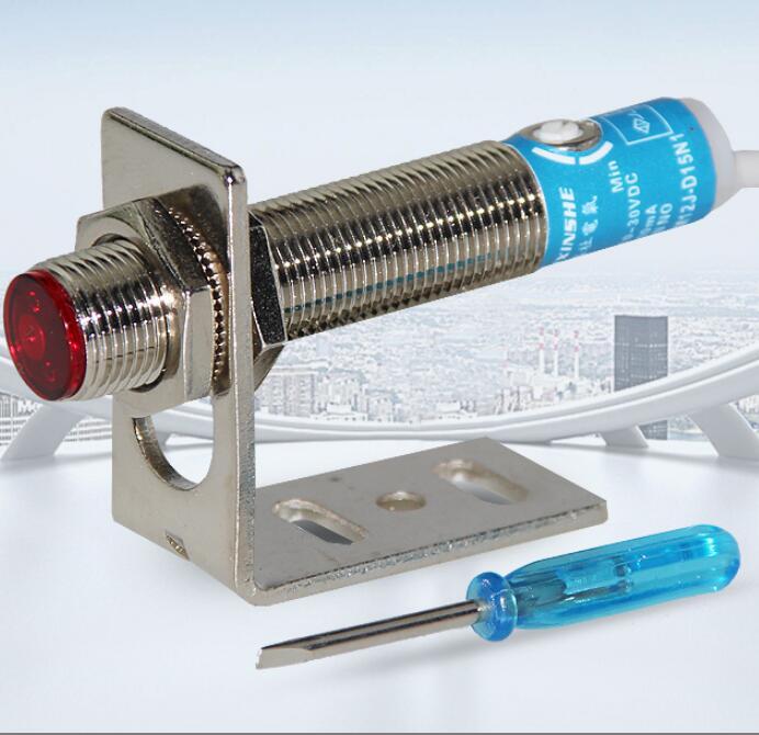 M12 Laser Sensor Infrared Diffuse Reflection Photoelectric Switch 15cm Adjustable 10-30VDC 200mA  SYM12J-D15N1M12 Laser Sensor Infrared Diffuse Reflection Photoelectric Switch 15cm Adjustable 10-30VDC 200mA  SYM12J-D15N1