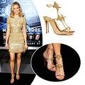 Sapatos de mulher Verão 2017 Rivits sapatos de Salto Alto Mulheres Sapatas Das Senhoras Da Forma Fivela Sandálias Gladiador Alta Europeia Prata/Ouro Big tamanho
