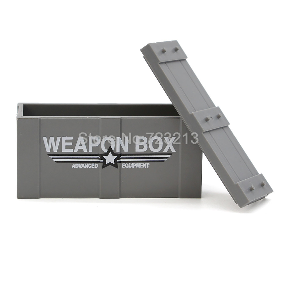 Single Sale Weapon Box for Military Figure Set Parts MOC Accessories SWAT Model Building Blocks Brick Kits Toys for Children