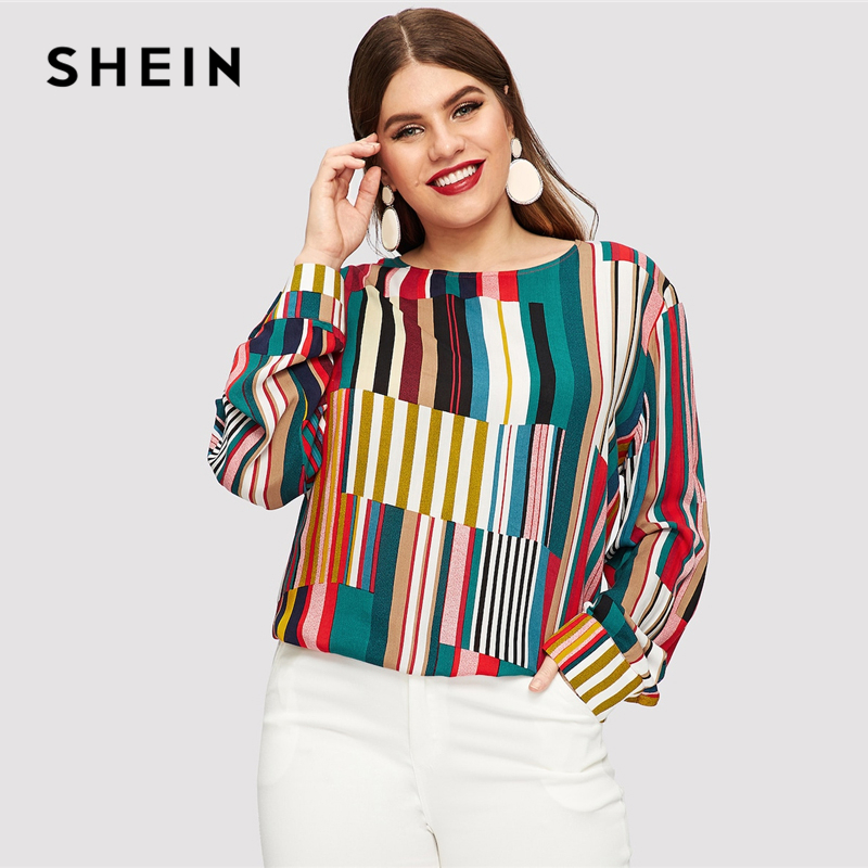 SHEIN Striped Curved Hem Plus Size Elegant Multicolor Longline Blouses Women 2019 Spring Round Neck Patchwork Tops Blouse