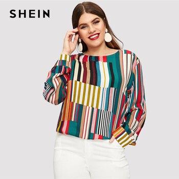 fa2e3ef6c SHEIN a rayas curvo dobladillo más tamaño Multicolor larga blusas de las  mujeres de la primavera de 2019 de cuello redondo Patchwork Tops blusa