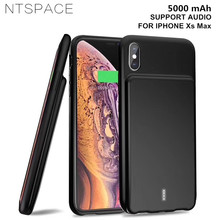 NTSPACE 5000mAh External Battery Charger Cases For iPhone Xs Max XR Power Case Portable Bank Pack Charging with Audio