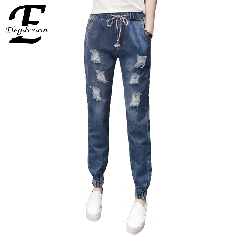 Elegdream Clothing 2017 Spring Summer New Jeans Women Ankle Length Denim Pants Lady Ripped Hole Casual Loose Trousers S XXXXXL 2017 spring new women sweet floral embroidery pastoralism denim jeans pockets ankle length pants ladies casual trouse top118
