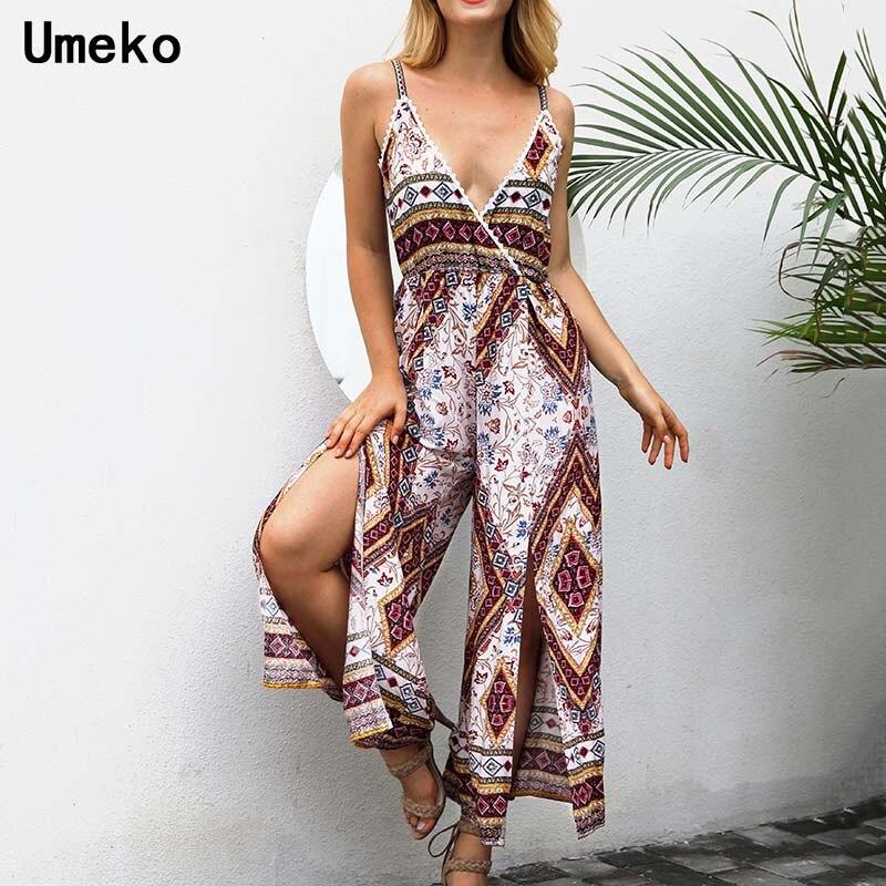 New Fashion 2019 Summer Rompers Jumpsuit Sleeveless Loose Print Vintage Streetwear Ladies Wide Leg Pants