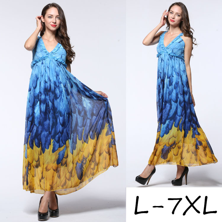 2016 women's fashion sleeveless printing maxi dress backless big sizes printed chiffon dress halter tie sexy plus size 6XL dress