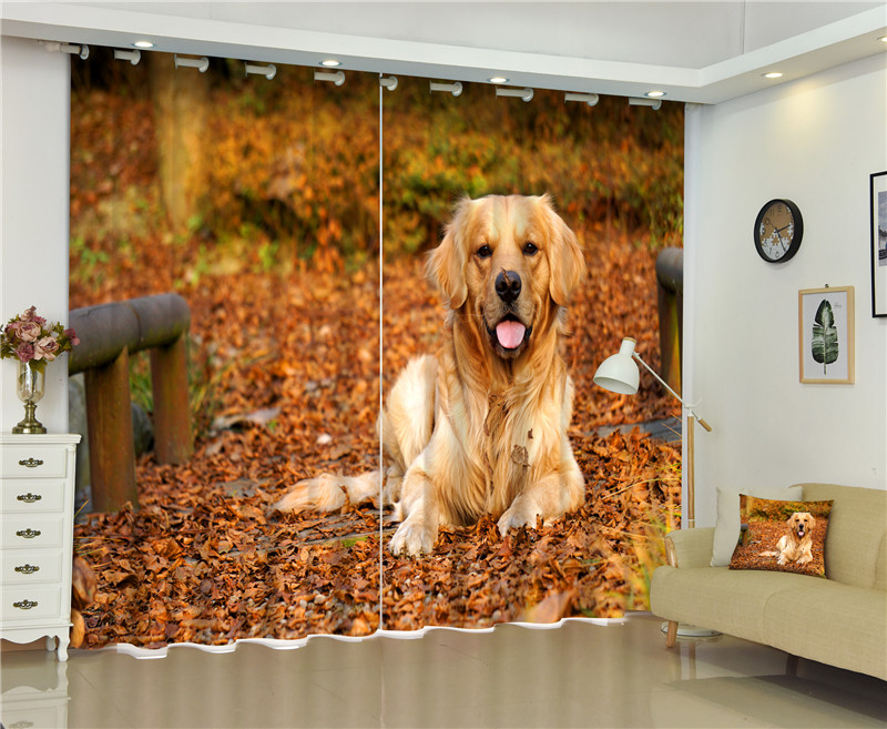 Home & Garden Window Treatments Independent 2017 Golden Retriever 3d Blackout Curtains For Living Room Bedding Room Decor Tapestry Wall Carpet Drapes Cotinas