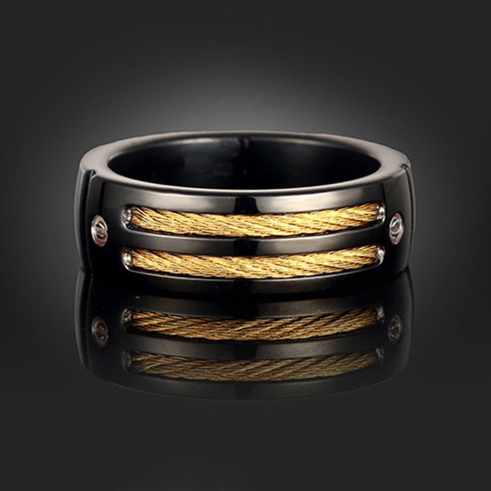 Wire Gold Rings For Men Center Circuits Gt Pulse Position Modulator Circuit L28080 Nextgr Punk Style Ring Titanium Black Rock With Cubic Rh Aliexpress Com Barb