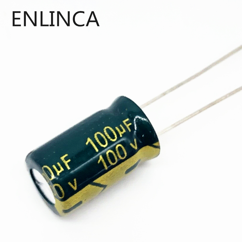 20pcs/lot BC13 High Frequency Low Impedance 100v 100UF Aluminum Electrolytic Capacitor Size 10*13 100UF 20%
