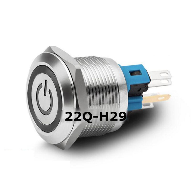 22mm Flat Power Symbol Ring LED Head Momentary/Self-locking Waterproof IP65 Stainless Steel PIN 1NO1NC Metal Push Button Switch 10pcs xb2 ea121 131 142 151 161 flat head economy self resseting momentary colorful push button switch 10a no nc 22mm