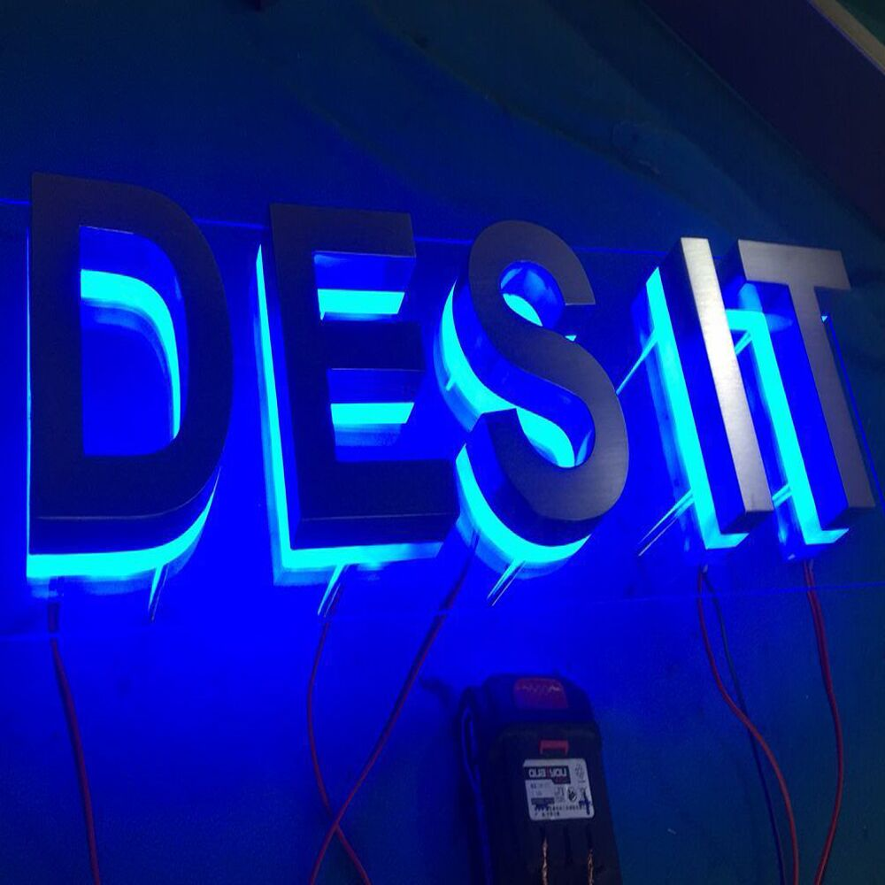 Clear Acrylic Background Stainless Steel Led Lighted Letters Sign