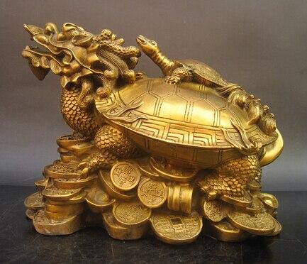 Antique bronze pur cuivre laiton usine cuivre artisanat de bon augure grand cuivre dragon tortue décoration artisanat