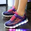 2017 led iluminan zapatos niñas zapatos de los niños para los niños de la Marca iluminado para niños usb alta calidad brillante zapatillas de deporte zapatos del deporte del niño