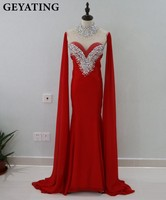 Dubai Kaftan Mangas Compridas Sereia Árabe Vestido de Noite 2017 de Cristal Frisado Alta Pescoço Marroquino Abaya Kaftan Vestidos Prom Dresses