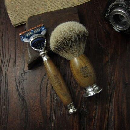 1 support + 1 rasoir + 1 blaireau homme Set de rasage lames remplaçables manuelles rasoir rasoirs Kit vert ébène bois poignée rasoir - 2