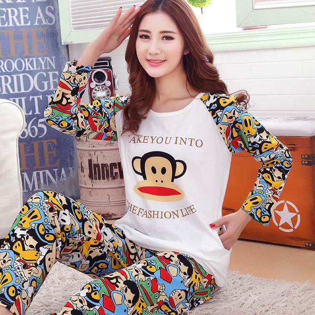 5bdd4a53f9ed Cotton round neck long sleeves pajamas set