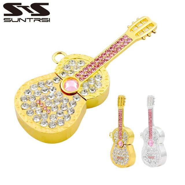 Suntrsi unidade flash usb guitarra de metal pendrive pen drive diamante Flash USB Presente Criativo USB Vara Pen Drive 32 GB Livre grátis